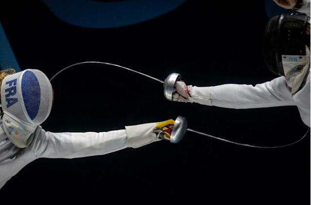 France's Mallo Auriane (L) challenges Zamachowska Aleksandra from Poland during the women's final at the European Fencing Championships in Novi Sad, Serbia (AFP Photo/OLIVER BUNIC)