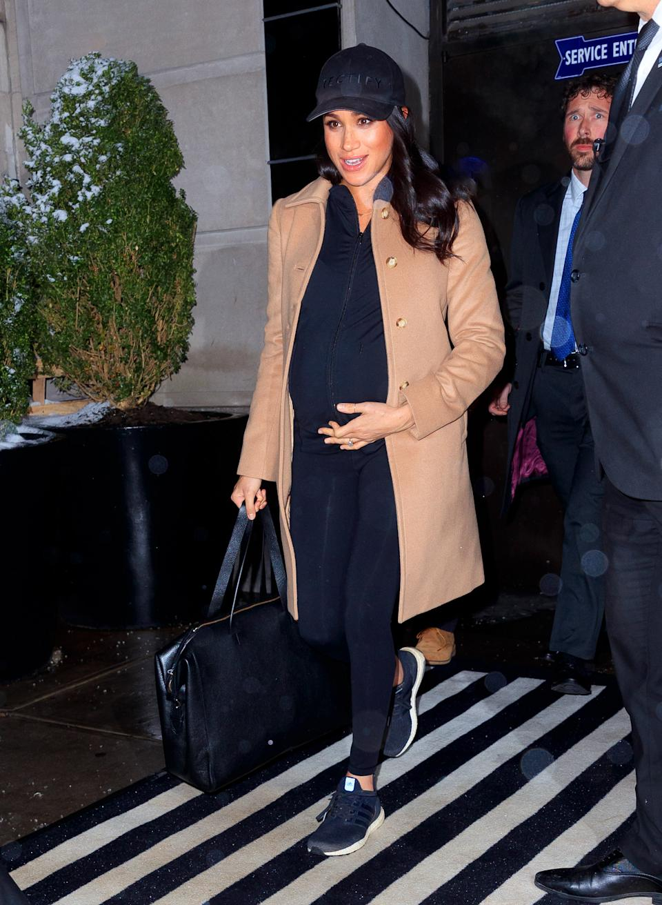 Meghan Markle opted for ultimate comfort in a pair of Adidas trainers as she made her way to her baby shower in New York in  February 2019.  (Getty Images)