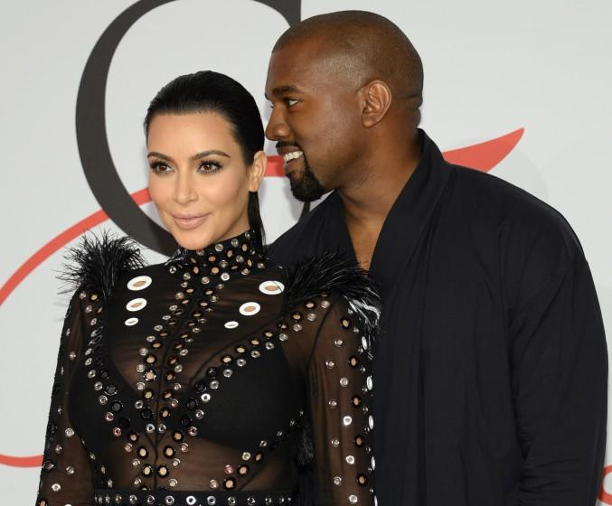 Kim Kardashian and Kanye West arrive at the CFDA Fashion Awards in New York on June 1.