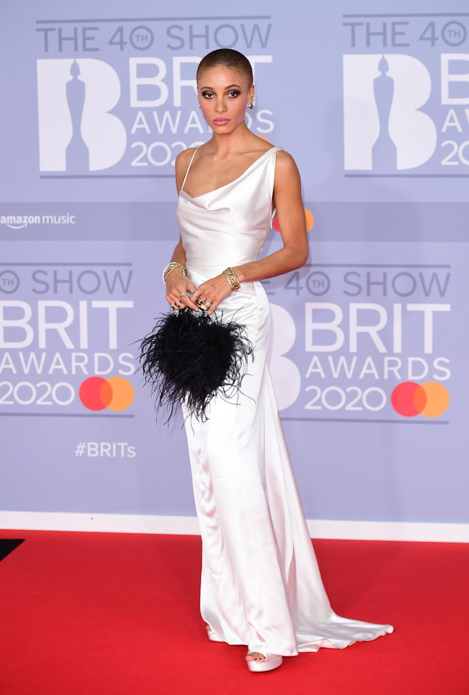 Adwoa Aboah arriving at the Brit Awards 2020 held at the O2 Arena, London.
