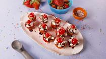 """<p>Why use bowls for ice cream sundaes when you can use strawberries instead?</p><p><em>Get the recipe from <a href=""""https://www.delish.com/cooking/recipe-ideas/a19460595/strawberry-sundae-bites-recipe/"""" rel=""""nofollow noopener"""" target=""""_blank"""" data-ylk=""""slk:Delish"""" class=""""link rapid-noclick-resp"""">Delish</a>.</em></p>"""