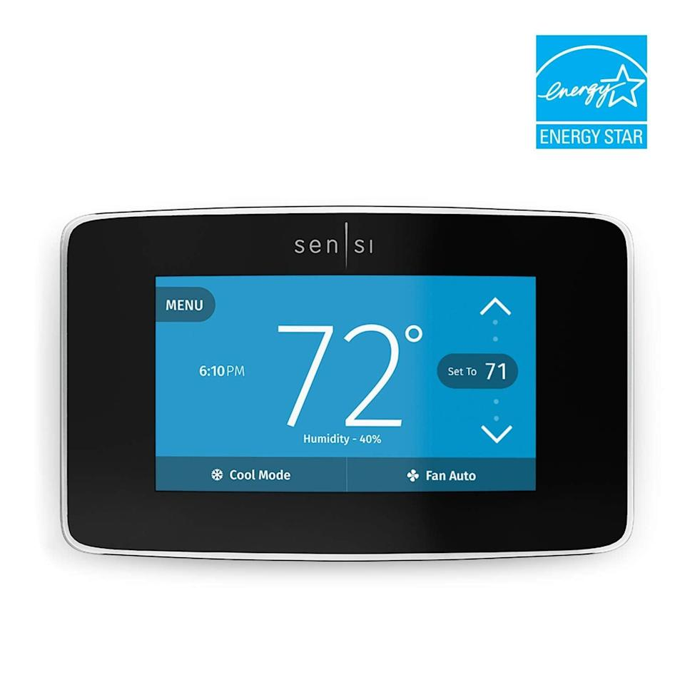 """<p>This smart <a href=""""https://www.popsugar.com/buy/Emerson-Sensi-Touch-WiFi-Thermostat-395513?p_name=Emerson%20Sensi%20Touch%20WiFi%20Thermostat&retailer=amazon.com&pid=395513&price=128&evar1=geek%3Aus&evar9=36026397&evar98=https%3A%2F%2Fwww.popsugar.com%2Ftech%2Fphoto-gallery%2F36026397%2Fimage%2F45606051%2FEmerson-Sensi-Touch-WiFi-Thermostat&list1=gifts%2Cgadgets%2Choliday%2Cgift%20guide%2Cdigital%20life%2Ctech%20gifts%2Cgifts%20for%20men&prop13=mobile&pdata=1"""" class=""""link rapid-noclick-resp"""" rel=""""nofollow noopener"""" target=""""_blank"""" data-ylk=""""slk:Emerson Sensi Touch WiFi Thermostat"""">Emerson Sensi Touch WiFi Thermostat</a> ($128) helps you save on energy costs, tracks weather, and so much more!</p>"""