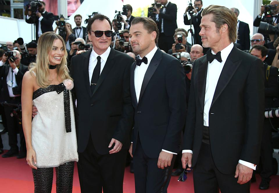 Actress Margot Robbie, from left, Quentin Tarantino, actors Leonardo DiCaprio and Brad Pitt pose for photographers upon arrival at the premiere of the film 'Once Upon a Time in Hollywood' at the 72nd international film festival, Cannes, southern France, Tuesday, May 21, 2019. (Photo by Joel C Ryan/Invision/AP)