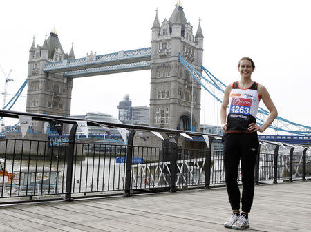 Athletics - 2013 Virgin London Marathon Preview Press Conference - International Men & Celebrities - The Tower Hotel, London - 17/4/13 Former Athlete Kelly Sotherton poses after the press conference Mandatory Credit: Action Images / Jed Leicester Livepic