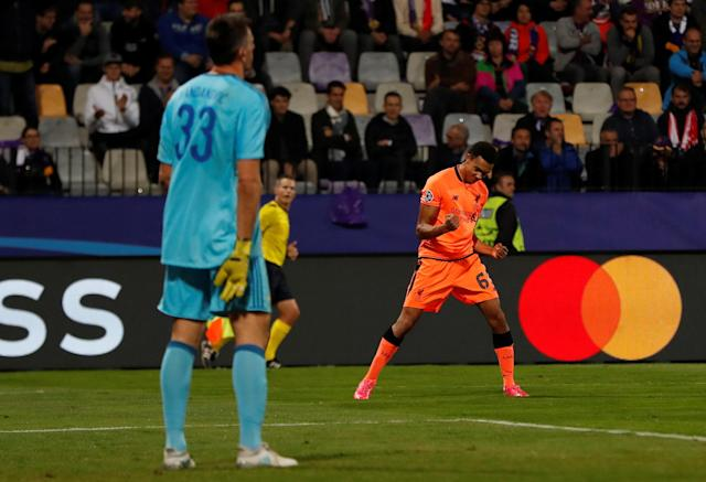 Soccer Football - Champions League - Maribor vs Liverpool - Ljudski vrt, Maribor, Slovenia - October 17, 2017 Liverpool's Trent Alexander-Arnold celebrates scoring their seventh goal as NK Maribor's Jasmin Handanovic looks dejected Action Images via Reuters/Paul Childs