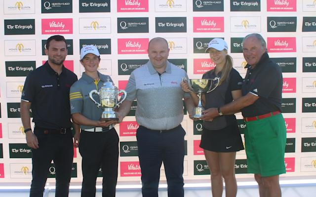 Max Hopkins and Annabell Fuller receive their trophies after an action-packed final round - Gary Prior