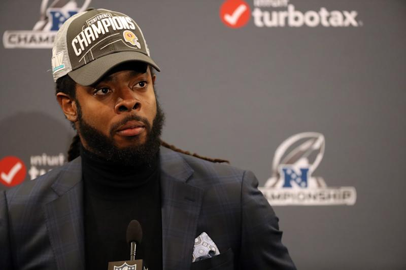"Richard Sherman doesn't think it's right that Cam Newton is being paid less than ""less talented"" quarterbacks. (Photo by Kiyoshi Mio/Icon Sportswire via Getty Images)"