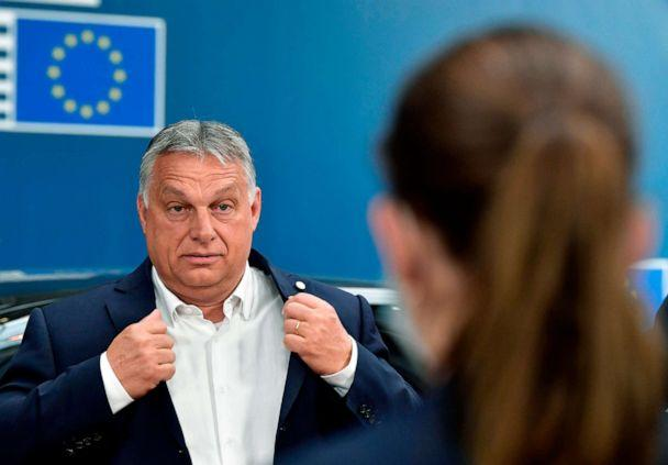 PHOTO: Hungary's Prime Minister Viktor Orban arrives for the EU summit on a coronavirus recovery package at the European Council building in Brussels, July 19, 2020. (John Thys/AFP via Getty Images, FILE)