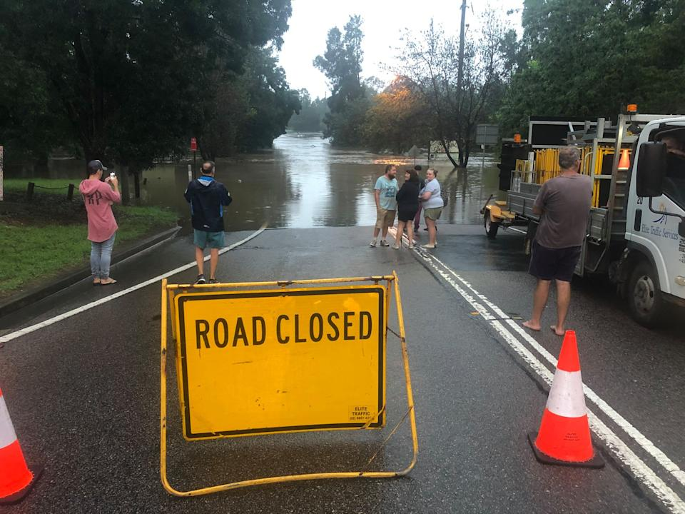 North Richmond bridge seen flooded on Sunday morning. Source: Facebook/NSW SES Hawkesbury Unit