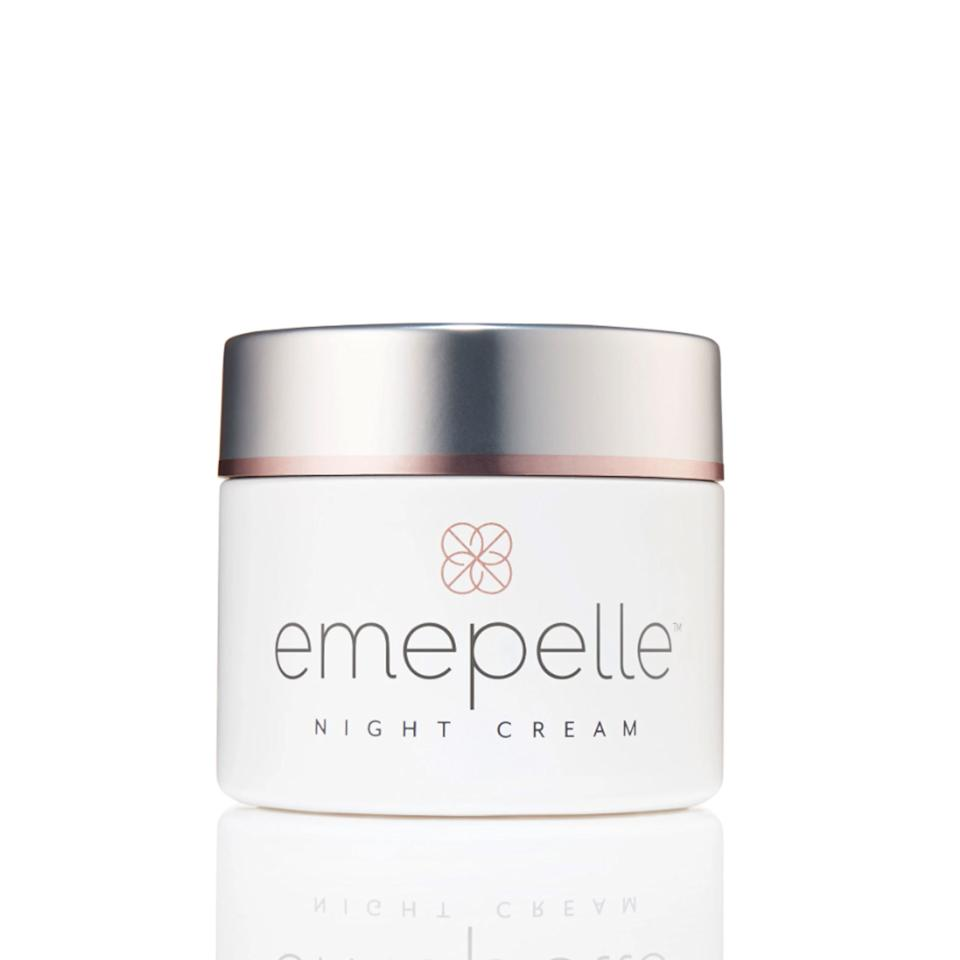"<p>The serum (not pictured) is for morning; the rich cream is for night. Together they treat estrogen-deficient skin by tightening, plumping, and restoring radiance without the side effects of estrogen. These products rely on a potent blend of niacinamide, peptides, and the newly discovered ingredient methyl estradiol-propanoate, which nonhormonally fires up skin's estrogen-receptor pathway.</p> <p><strong>$185</strong> (<a href=""https://emepelle.com/night-cream/"" rel=""nofollow"">Shop Now</a>)</p>"