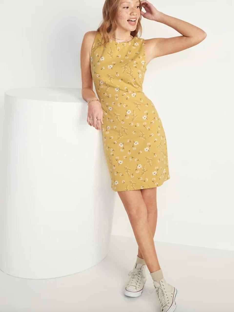 <p>You'll love dressing up this <span>Sleeveless Ponte-Knit Sheath Dress</span> ($26, originally $39) with a gold necklace and some low-heeled sandals.</p>