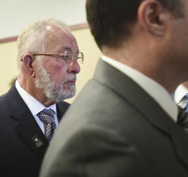 William Strampel, former dean at the College of Osteopathic Medicine at Michigan State University leaves Ingham County Circuit Court after a jury found him guilty of misconduct in office and two charges of willful neglect of duty, Wednesday, June 12, 2019, at Veterans Memorial Courthouse in Lansing, Mich.  Strampel, 71, had been accused of abusing his power to sexually proposition and harass female students and not enforcing patient restrictions imposed on Larry Nassar following a 2014 complaint. Jurors found him not guilty of felony criminal sexual conduct in the second degree, a charge that could have sent him to prison for up to 15 years for grabbing the buttocks of at least one student.   (Matthew Dae Smith/Lansing State Journal via AP)