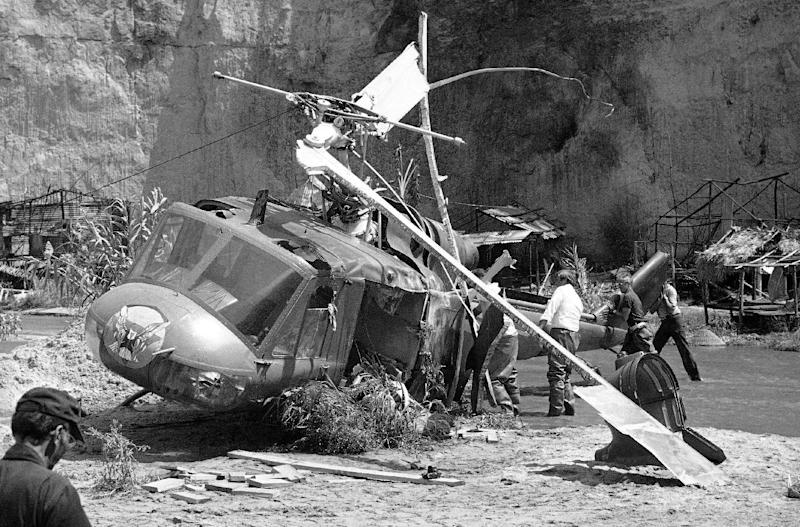 "FILE - This July 23, 1982 file photo shows the crash site where actor Vic Morrow and two children were killed during the filming of movie ""The Twilight Zone"" in Santa Clarita, Calif. The accident shook the film industry and led to new safety standards for the use of choppers. (AP Photo/Scott Harms, File)"