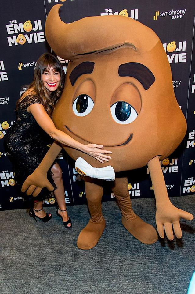 """<p>In New York City, another <i>Emoji Movie</i> star snuggled up to an unlikely character –- Patrick Stewart's """"Poop"""" — at a screening of the family-friendly flick. Joe Manganiello probably shouldn't be jealous of this guy! (Photo: Roy Rochlin/FilmMagic) </p>"""