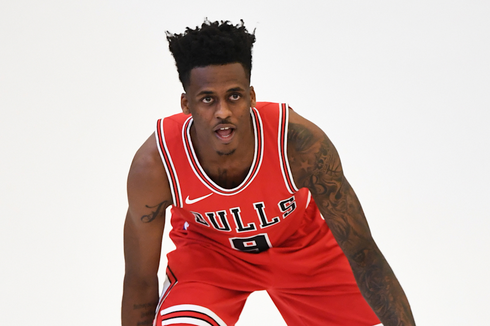 Sep 25, 2017; Chicago, IL, USA; Chicago Bulls guard Antonio Blakeney (9) poses for a photo on media day at The Advocate Center.