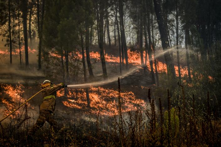 A firefighter tries to extinguish a wildfire in the village of Casais de Sao Bento in Macao in central Portugal on July 22, 2019. (Photo: Patricia De Melo Moreira/AFP/Getty Images)