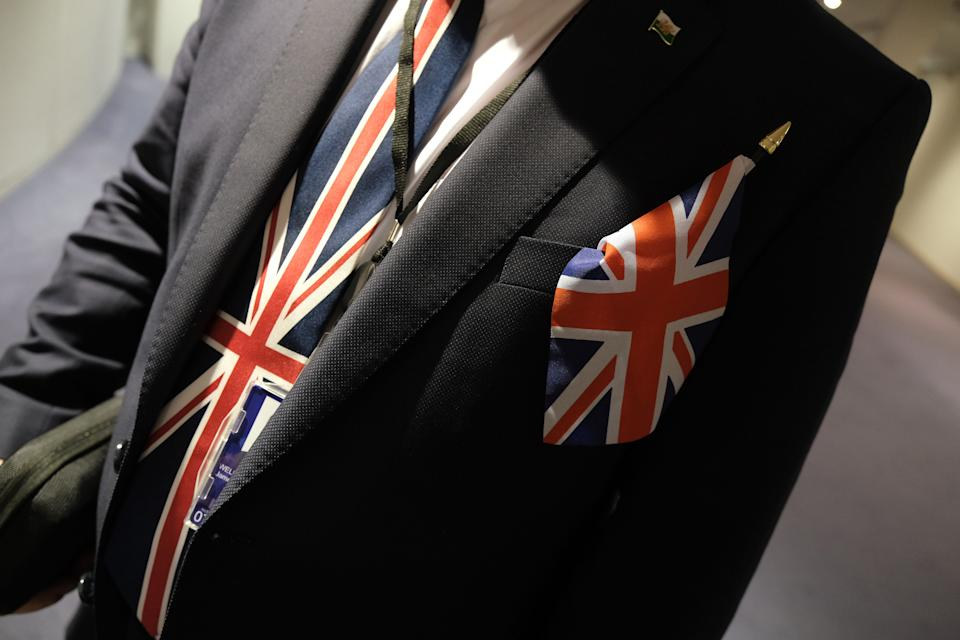 """A pro-Brexit MP of the European Parliament wears a Union Jack tie following a historic vote for the Brexit agreement at a session of the European Parliament that paves the way for an """"orderly"""" departure of the United Kingdom from the EU on January 29, 2020 in Brussels, Belgium. The United Kingdom is expected to officially leave the European Union on January 31.     (Photo by Sean Gallup/Getty Images)"""
