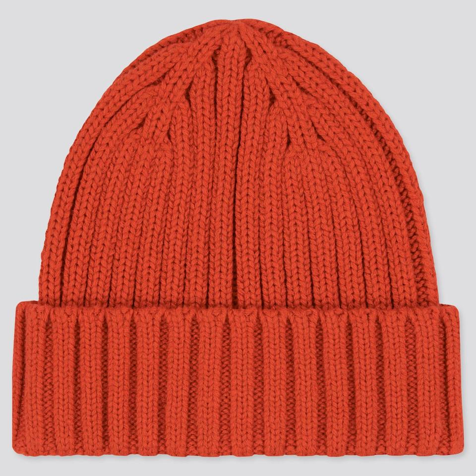 <p>If you've got to brave serious cold, do it in this <span>Uniqlo Heattech Knitted Cap</span> ($10, originally $15).</p>