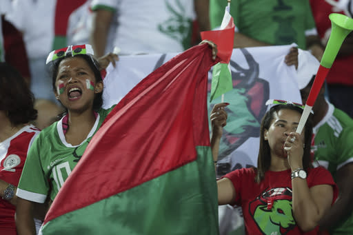 Madagascar fans cheer before the African Cup of Nations quarterfinal soccer match between Madagascar and Tunisia in Al Salam stadium in Cairo, Egypt, Thursday, July 11, 2019. (AP Photo/Hassan Ammar)