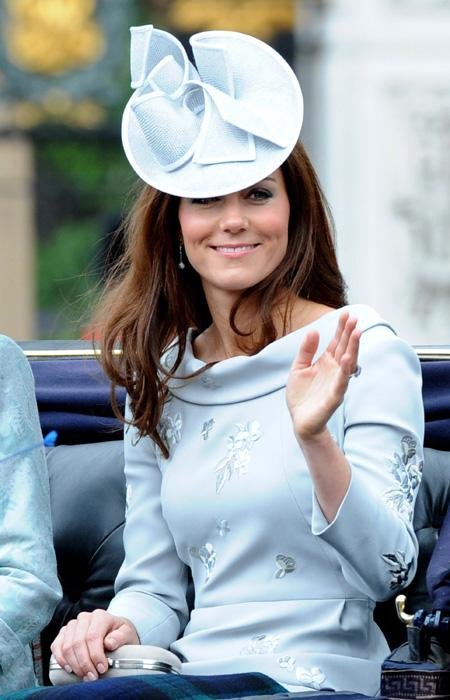 On the weekend, the Duchess attended Queen Elizabeth's Trooping the Colour ceremony in a new powder blue Erdem dress with flower embroidery. She wore a matching Jane Corbett hat and an Alexander McQueen clutch.  Will Alexander/WENN.com