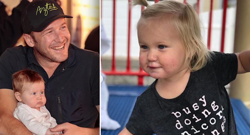 Bode Miller (left) poses for a photograph with his daughter, Emmy, at the Tyrol night during the 2017 FIS Alpine World Ski Championships. Pictured right is a photo of Emmy shared by her mum. Images: Getty & Instagram / Morgan Miller