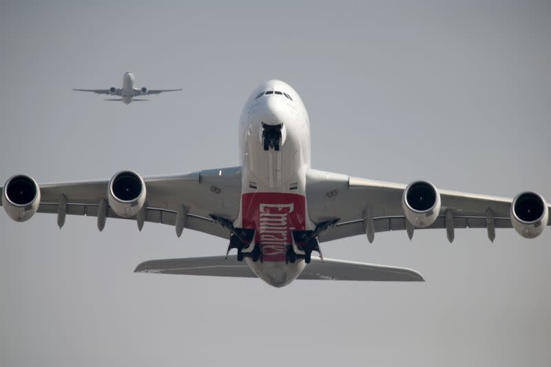 FILE PHOTO: An Emirates Airline Airbus A380 plane takes off from Dubai International Airport in Dubai