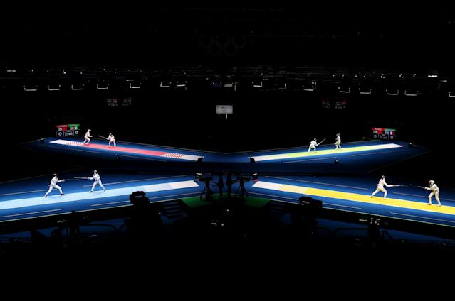 <p>A general view of the action during the Women's Individual Epee: round of 32 on Day 1 of the Rio 2016 Olympic Games at Carioca Arena 3 on August 6, 2016 in Rio de Janeiro, Brazil. (Photo by Ryan Pierse/Getty Images) </p>