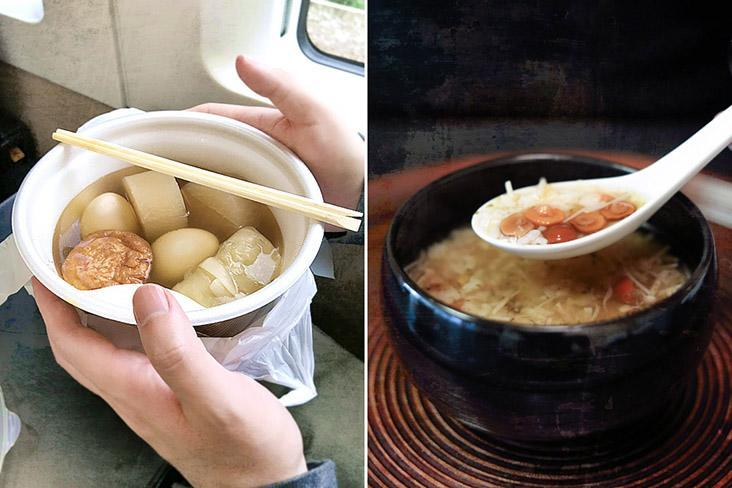 Simpler simmered fare such as 'oden' (left) and 'zosui' (right) are perfect for solo diners.