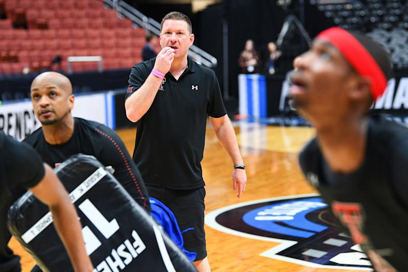 ANAHEIM, CA - MARCH 27: Texas Tech head coach Chris Beard watches drills during the practice day before their NCAA Division I Men's Championship Sweet Sixteen round basketball game on March 27, 2019 at Honda Center in Anaheim, CA. (Photo by Brian Rothmuller/Icon Sportswire via Getty Images)