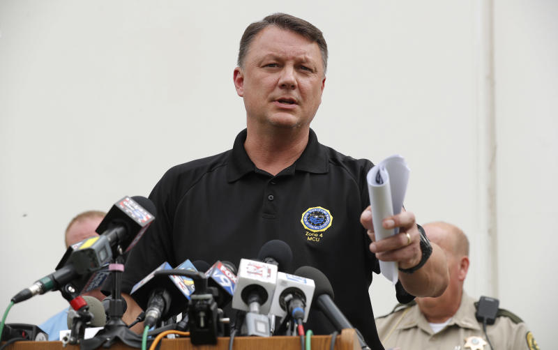 Special Agent Rick Rahn, of the Iowa Department of Criminal Investigation, speaks during a news conference about the investigation of missing University of Iowa student Mollie Tibbetts, Tuesday, Aug. 21, 2018, in Montezuma, Iowa. Police say a man in the country illegally has been charged with murder in the death of Tibbetts, who was reported missing from her hometown in the eastern Iowa city of Brooklyn in July 2018. (AP Photo/Charlie Neibergall)
