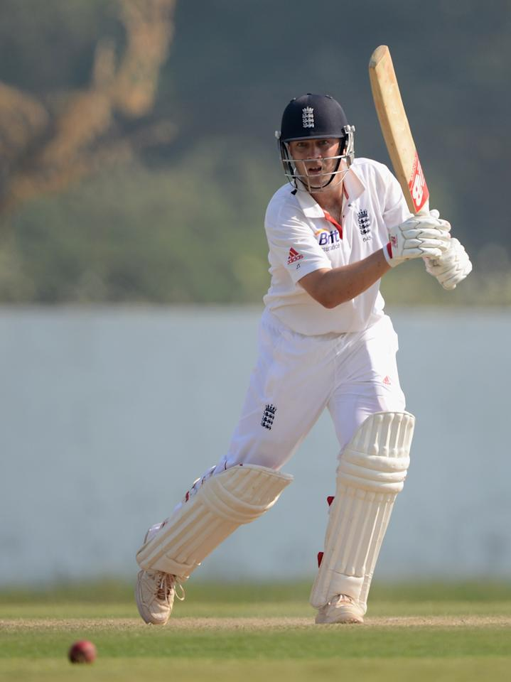 AHMEDABAD, INDIA - NOVEMBER 11:  Jonathan Trott of England bats during day four of the tour match between England and Haryana at Sardar Patel Stadium ground B on November 11, 2012 in Ahmedabad, India.  (Photo by Gareth Copley/Getty Images)