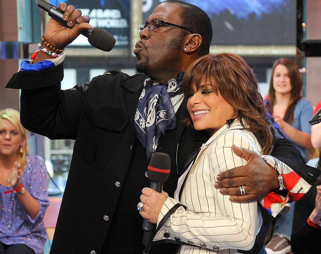 """Speaking of """"American Idol,"""" judges Randy Jackson and Paula Abdul make an appearance to promote Randy's new album. Jamie McCarthy/<a href=""""http://www.wireimage.com"""" target=""""new"""">WireImage.com</a> - March 10, 2008"""