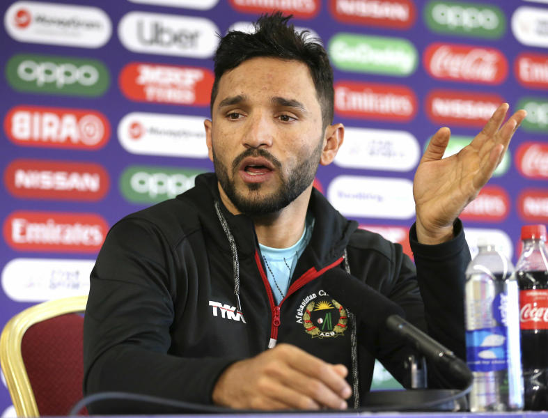 Afghanistan captain Gulbadin Naib speaks during a press conference at Old Trafford, Manchester, England, Monday June 17, 2019. (Nigel French/PA via AP)