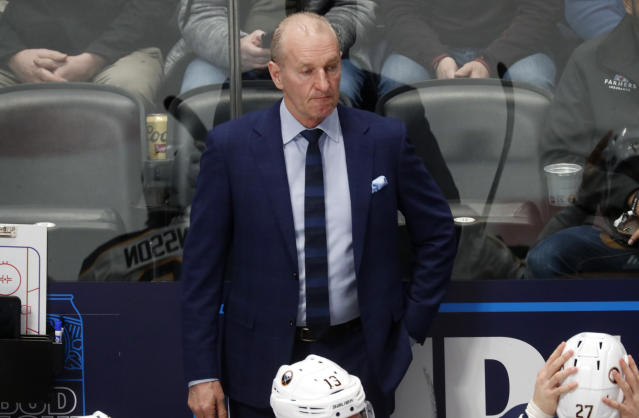 Buffalo Sabres head coach Ralph Krueger looks on in the first period of an NHL hockey game against the Colorado Avalanche Wednesday, Feb. 26, 2020, in Denver. (AP Photo/David Zalubowski)