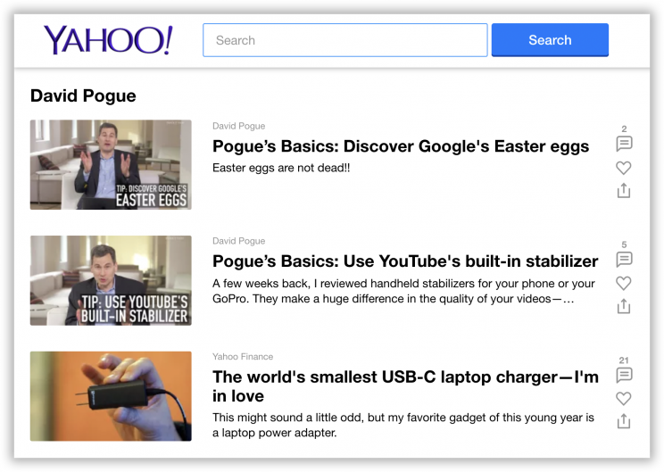 You can bookmark any Yahoo writer's author page.