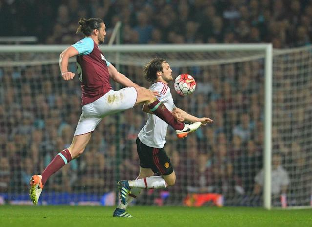 West Ham United's striker Andy Carroll (L) vies with Manchester United's midfielder Daley Blind during the English Premier League football match in Upton Park, in east London on May 10, 2016 (AFP Photo/Glyn Kirk)