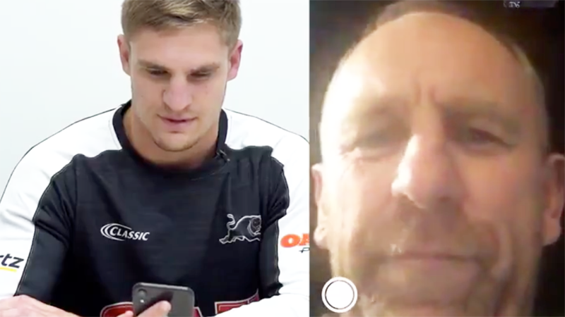 The emotional moment John Cartwright tells his father and NRL great, John, he will make his debut this Friday. (Images: @PenrithPanthers)