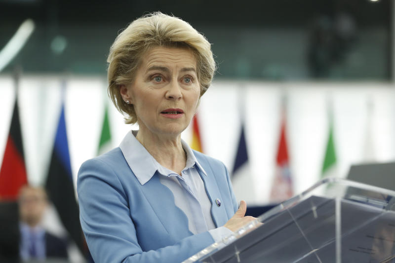 European Commission President Ursula von der Leyen delivers her speech during a debate on a proposed mandate for negotiations for a new partnership with the United Kingdom of Great Britain and Northern Ireland, at the European Parliament in Strasbourg, eastern France, Tuesday, Feb.11, 2020. (AP Photo/Jean-Francois Badias)