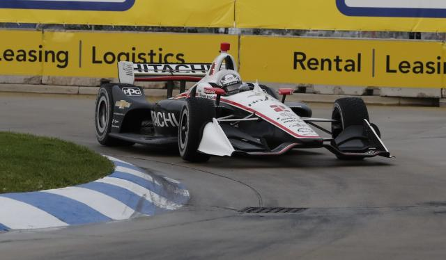 Josef Newgarden (2) drives through the 11th turn during the first race of the IndyCar Detroit Grand Prix auto racing doubleheader, Saturday, June 1, 2019, in Detroit. (AP Photo/Carlos Osorio)