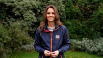 <p>Kate chose a nautical look (and an official America's Cup windbreaker) to wish INEOS TEAK UK good luck in the America's Cup World Series.</p>