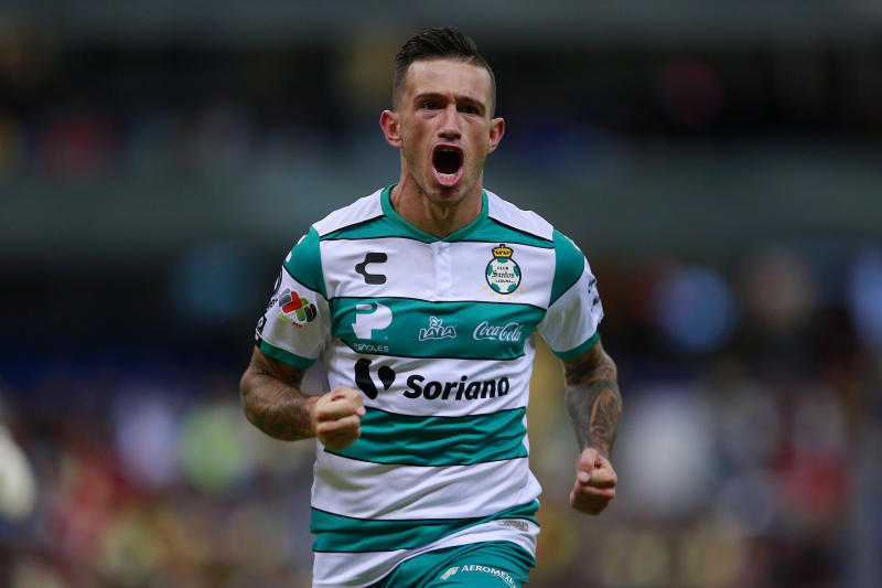 MEXICO CITY, MEXICO - NOVEMBER 02: Brian Lozano of Santos celebrates after scoring the second goal of his team during the 17th round match between America and Santos Laguna as part of the Torneo Apertura 2019 Liga MX at Azteca Stadium on November 2, 2019 in Mexico City, Mexico. (Photo by Mauricio Salas/Jam Media/Getty Images)