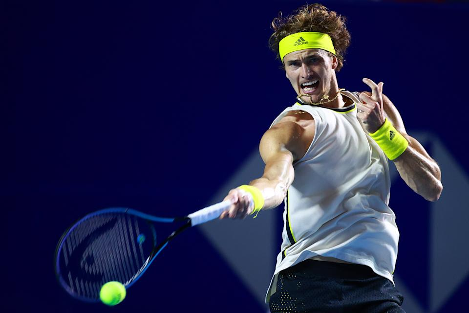 ACAPULCO, MEXICO - MARCH 19: Alexander Zverev of Germany plays a forehand during the semifinal match between Dominik Koepfer of Germany and Alexander Zverev of Germany as part of the Telcel Mexican Open 2021 at Princess Mundo Imperial on March 19, 2021 in Acapulco, Mexico. (Photo by Hector Vivas/Getty Images)