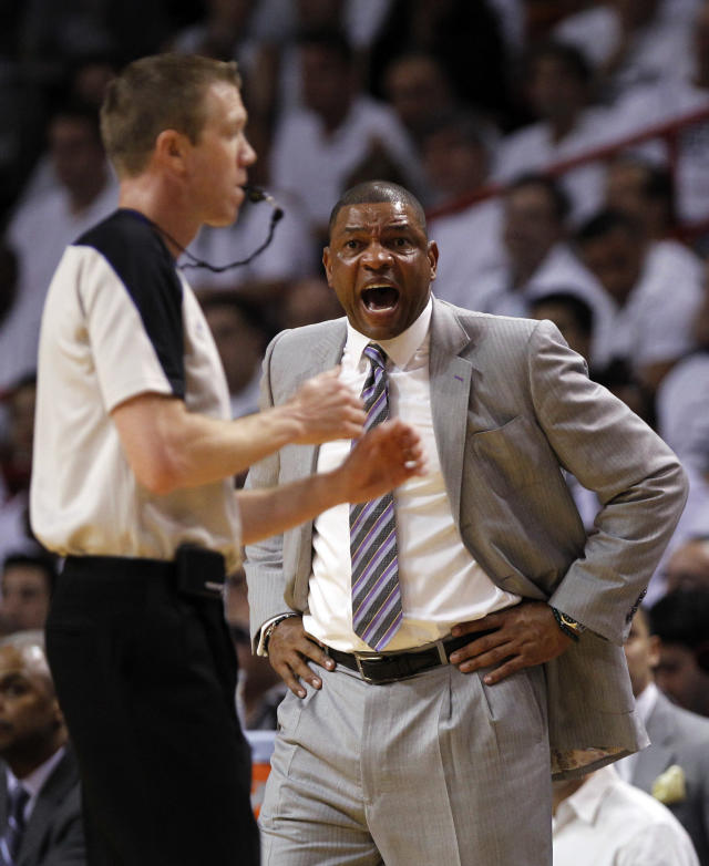 Boston Celtics' head coach Doc Rivers reacts as he is called for a technical foul by official Ed Malloy during the first half of Game 1 in their NBA basketball Eastern Conference finals playoffs series against the Miami Heat, Monday May, 28, 2012, in Miami. (AP Photo/Lynne Sladky)