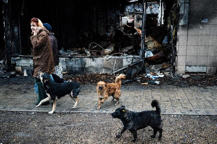 A pack of stray dogs follows a women walking past a a burnt out shop in the Kievsky district of Donetsk on April 2, 2015 (AFP Photo/Dimitar Dilkoff)