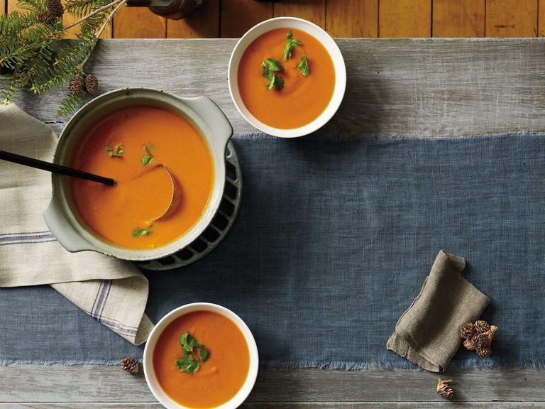"""<p>This filling soup may look simple, but its ingredients are anything but boring: beta carotene-rich carrots, high-fiber red <span class=""""redactor-unlink"""">lentils</span>, and anti-inflammatory <a href=""""https://www.prevention.com/food-nutrition/healthy-eating/a20635784/turmeric-benefits/"""" rel=""""nofollow noopener"""" target=""""_blank"""" data-ylk=""""slk:turmeric"""" class=""""link rapid-noclick-resp"""">turmeric</a>. There's even immune-boosting lime and sinus-clearing cayenne, making it the perfect sick-day treat.</p><p><strong><strong><em>Get the recipe »</em></strong></strong></p>"""