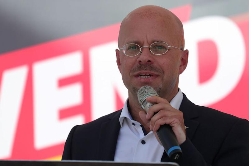 Andreas Kalbitz, Alternative for Germany (AfD) candidate in Brandenburg state election, speaks during the right-wing party's campaign event in Prenzlau, Germany, on Saturday, Aug. 3, 2019. The region that saw massive right-wing protests last year is now back in focus as voters in three states go to the polls this fall. Photographer: Krisztian Bocsi/Bloomberg