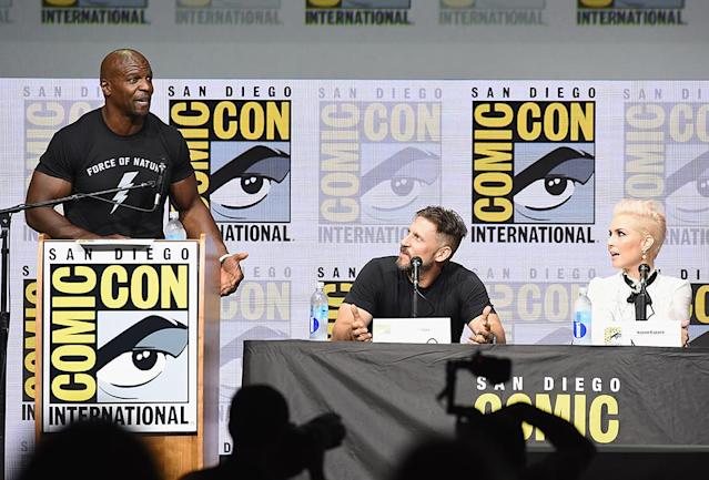 <p>Moderator Terry Crews, director David Ayer, and Noomi Rapace at Netflix Films Comic-Con panel on July 20, 2017, in San Diego. (Photo: Kevin Winter/Getty Images) </p>