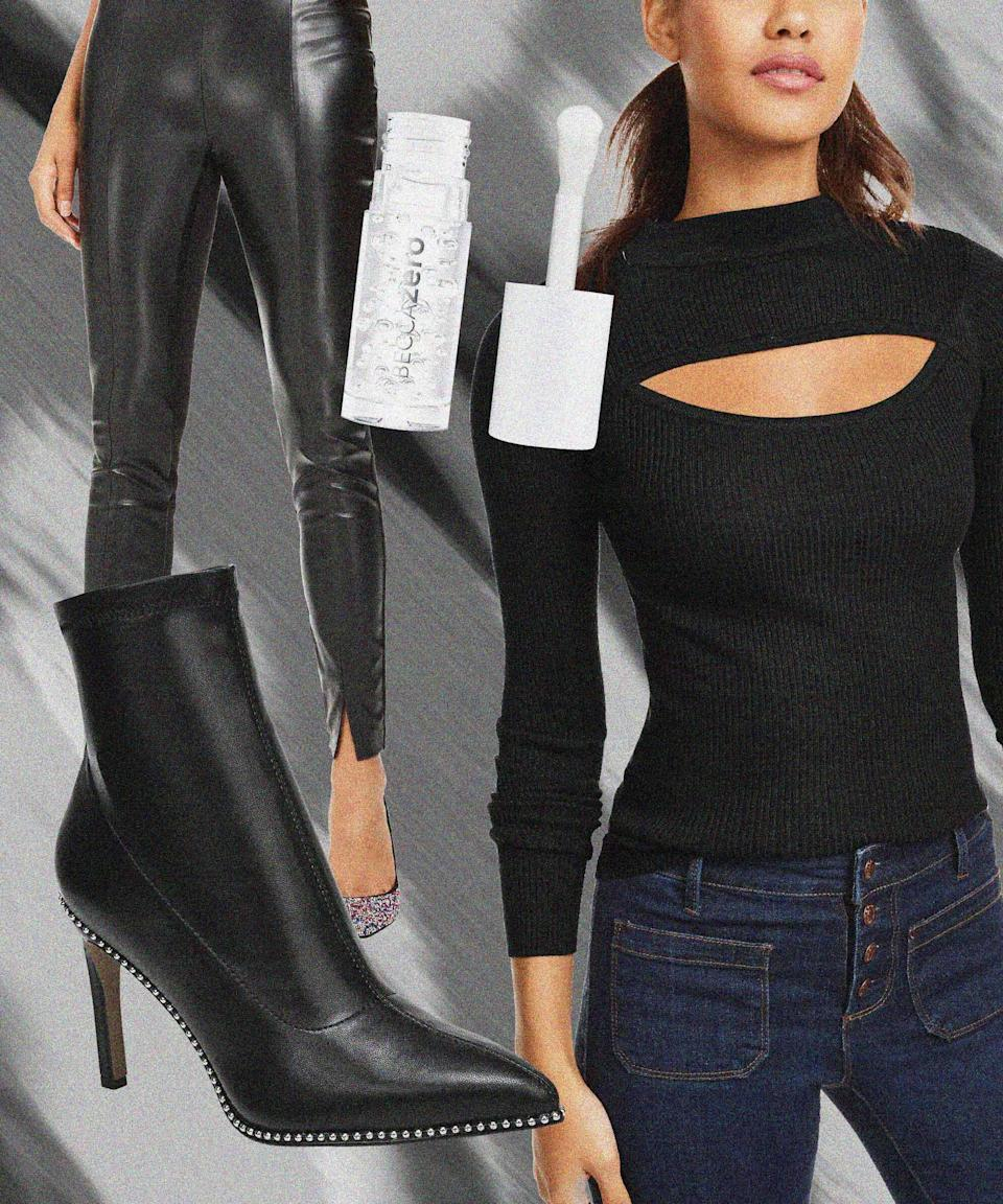"""TBD on when we'll actually be able to dance to bangers in a real club, but with slick faux-leather leggings, a cutout sweater, mirror-finish highlighter, and point-toe boots, it's almost like being there.<br><br><strong>Bar III</strong> Melanay Booties, $, available at <a href=""""https://go.skimresources.com/?id=30283X879131&url=https%3A%2F%2Fwww.macys.com%2Fshop%2Fproduct%2Fbar-iii-womens-melanay-booties-created-for-macys%3FID%3D11180108%26CategoryID%3D25122%26swatchColor%3DBlack%2520Smooth"""" rel=""""nofollow noopener"""" target=""""_blank"""" data-ylk=""""slk:Macy's"""" class=""""link rapid-noclick-resp"""">Macy's</a><br><br><strong>Planet Gold</strong> Cutout Mock-Neck Sweater, $, available at <a href=""""https://go.skimresources.com/?id=30283X879131&url=https%3A%2F%2Fwww.macys.com%2Fshop%2Fproduct%2Fplanet-gold-juniors-cutout-mock-neck-sweater%3FID%3D11318784%26CategoryID%3D20853%26swatchColor%3DBlack"""" rel=""""nofollow noopener"""" target=""""_blank"""" data-ylk=""""slk:Macy's"""" class=""""link rapid-noclick-resp"""">Macy's</a><br><br><strong>Bar III</strong> Faux-Leather Leggings, $, available at <a href=""""https://go.skimresources.com/?id=30283X879131&url=https%3A%2F%2Fwww.macys.com%2Fshop%2Fproduct%2Fbar-iii-faux-leather-leggings-created-for-macys%3FID%3D9576525%26CategoryID%3D157%26isDlp%3Dtrue%26isDlp%3Dtrue"""" rel=""""nofollow noopener"""" target=""""_blank"""" data-ylk=""""slk:Macy's"""" class=""""link rapid-noclick-resp"""">Macy's</a><br><br><strong>BECCA Cosmetics</strong> Zero Face + Lip Glass Highlighter, $, available at <a href=""""https://go.skimresources.com/?id=30283X879131&url=https%3A%2F%2Fwww.macys.com%2Fshop%2Fproduct%2Fbecca-cosmetics-zero-face-lip-glass-highlighter-0.23-oz.%3FID%3D11306014%26CategoryID%3D30077"""" rel=""""nofollow noopener"""" target=""""_blank"""" data-ylk=""""slk:Macy's"""" class=""""link rapid-noclick-resp"""">Macy's</a>"""
