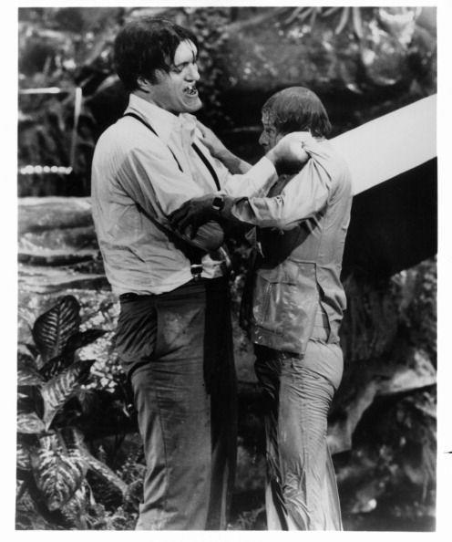 <p>Richard Kiel picking up actor Roger Moore in a scene from the film 'The Spy Who Loved Me', 1977. </p>