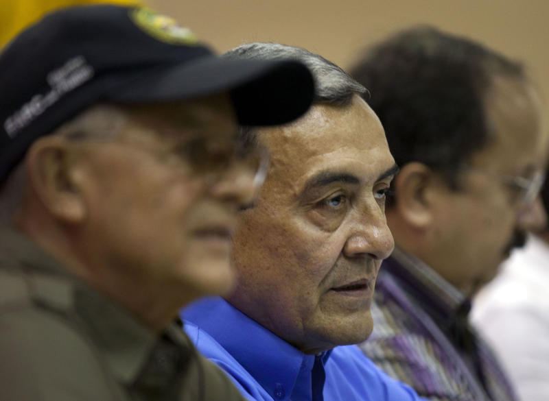 Mauricio Jaramillo, a spokesman and top leader of the Revolutionary Armed Forces of Colombia, or FARC, attends a press conference with other FARC members in Havana, Cuba, Thursday, Sept. 6, 2012. Colombia's main leftist rebel group announced two of its negotiators on Thursday for October peace talks in Norway, and said it hopes a high-ranking guerrilla imprisoned in the United States also can take part. (AP Photo/Ramon Espinosa)